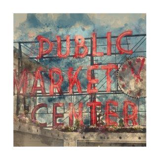 Impression Sur Bois Centre de marché public à Seattle Washington