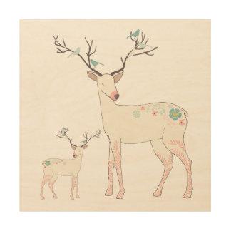 Impression Sur Bois Cerfs communs de Noël avec des oiseaux et des