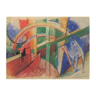 Impression Sur Bois Cheval bleu avec l'arc-en-ciel par Franz Marc