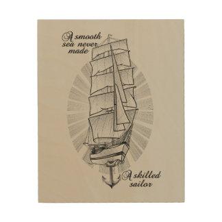 Impression Sur Bois Citation de schooner de bateau