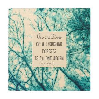 Impression Sur Bois citation en bois de nature de Ralph Waldo Emerson