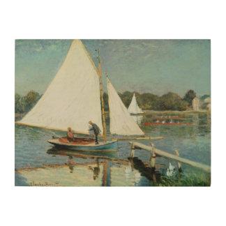 Impression Sur Bois Claude Monet   naviguant à Argenteuil, c.1874