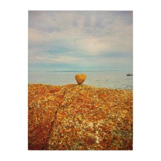 Impression Sur Bois Coeur de roche d'océan