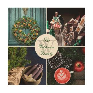 Impression Sur Bois Collage saisonnier de photo de Noël d'Instagram