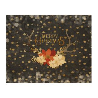 Impression Sur Bois Confettis floraux d'andouillers de Joyeux Noël