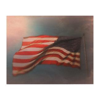 Impression Sur Bois Copie en bois Antiqued 14 x 11 de drapeau