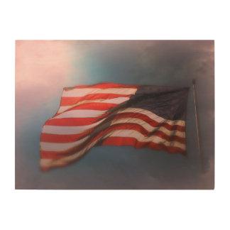 Impression Sur Bois Copie en bois Antiqued 24 x 18 de drapeau
