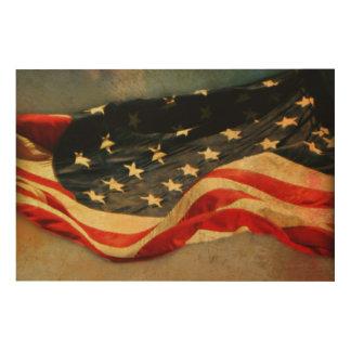 Impression Sur Bois Copie en bois Antiqued 36 x 24 de drapeau