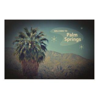 Impression Sur Bois Copie en bois d'art de mur de Palm Springs vintage