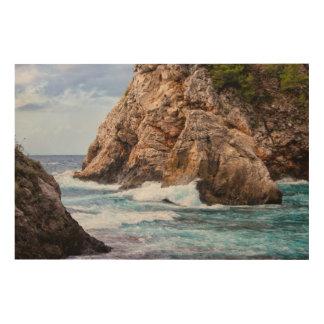 Impression Sur Bois Côte de Mer Adriatique en Croatie