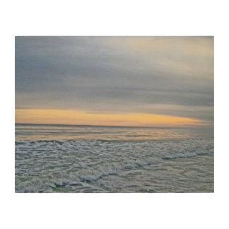 Impression Sur Bois Coucher du soleil de détente par la mer