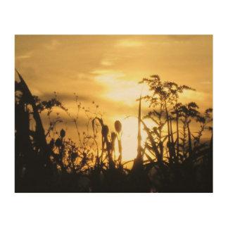 Impression Sur Bois Coucher du soleil d'or