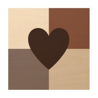 Impression Sur Bois Couleurs chaudes de conception de coeur