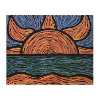 Impression Sur Bois Couleurs colorées d'abrégé sur coucher du soleil