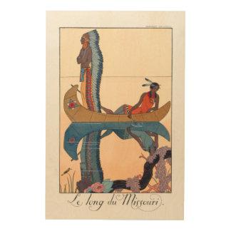 Impression Sur Bois couples indigènes dans un canoë