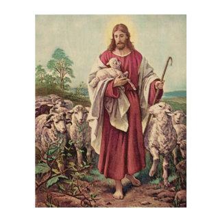 Impression Sur Bois Cru de berger de peinture d'amour d'agneau de