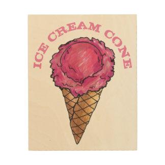 Impression Sur Bois Cuisine rose de nourriture de cône de gaufre de
