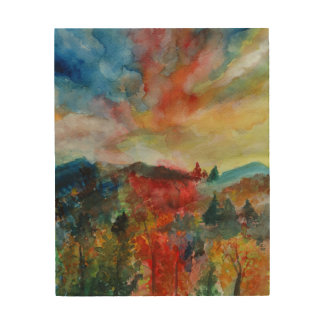 Impression Sur Bois Dessin en bois d'aquarelle de paysage d'automne
