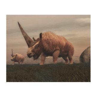 Impression Sur Bois Dinosaures mammifères d'Elasmotherium - 3D rendent