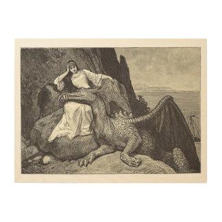 Impression Sur Bois Dragon d'animal familier et la jeune fille