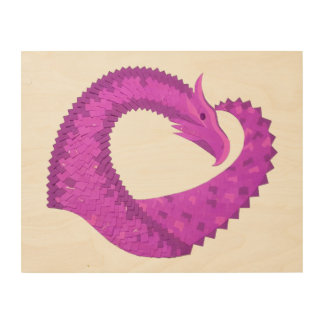 Impression Sur Bois Dragon lumineux de coeur pourpre