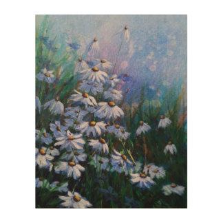 Impression Sur Bois Du bon côté, peinture florale de marguerite