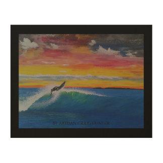 Impression Sur Bois Fille orageuse de surfer de bosse