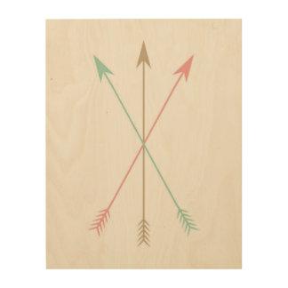 Impression Sur Bois Flèches colorées minimales