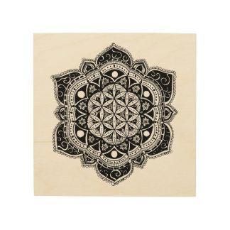Impression Sur Bois Fleur de l'art en bois de mur de mandala de la vie