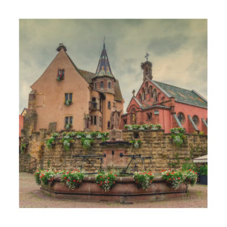 Impression Sur Bois Fontaine de Saint-Léon dans Eguisheim, Alsace,