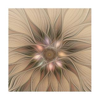 Impression Sur Bois Fractale florale beige de Brown d'abrégé sur