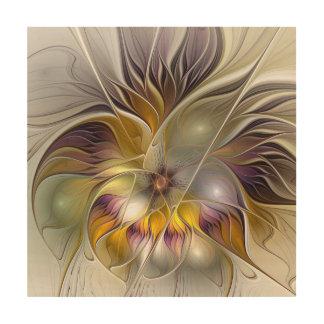 Impression Sur Bois Fractale moderne de fleur colorée abstraite