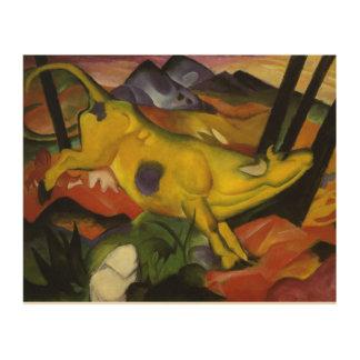 Impression Sur Bois Franz Marc vintage la vache jaune