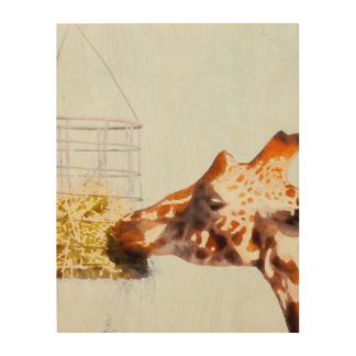 Impression Sur Bois Girafe alimentant du panier aérien