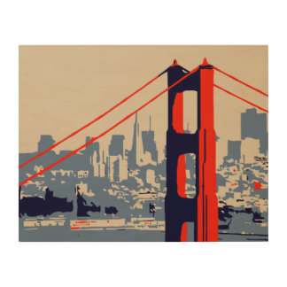 Impression Sur Bois Golden gate bridge et horizon San Francisco