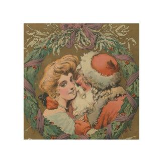 Impression Sur Bois Guirlande de baiser vintage avec du charme de Noël