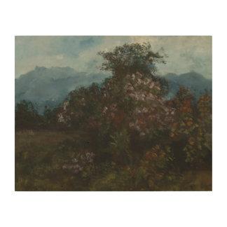 Impression Sur Bois Gustave Courbet - paysage avec Massiv fleuri