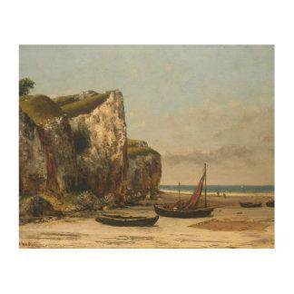 Impression Sur Bois Gustave Courbet - plage en Normandie