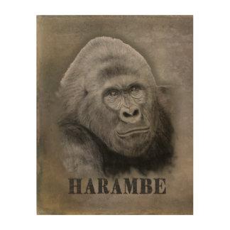 Impression Sur Bois Harambe (dessin de graphite)