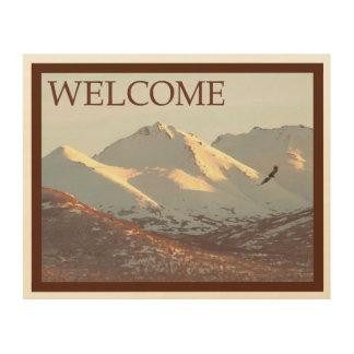 Impression Sur Bois Hiver Eagle et montagnes - accueil