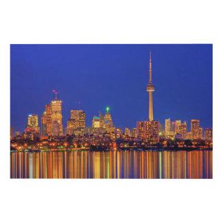 Impression Sur Bois Horizon du centre de Toronto la nuit