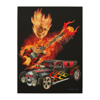 Impression Sur Bois Hot rod de feu d'enfer