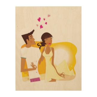 Impression Sur Bois Illustration de couples sur le bois