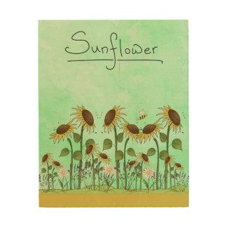 Impression Sur Bois Illustration de tournesol d'été d'or sur le vert