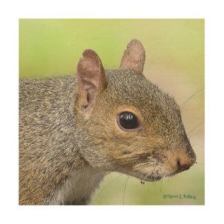 Impression Sur Bois Illustration en bois de profil d'écureuil