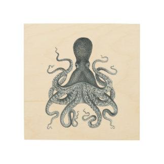 Impression Sur Bois Illustration grise de poulpe