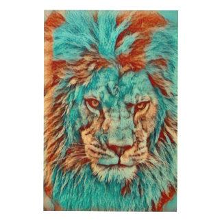 Impression Sur Bois Illustration sauvage d'ère de bleus de lion