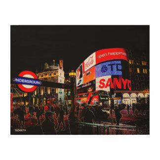 Impression Sur Bois Imaginaire Piccadilly rougeoyant à Londres la nuit