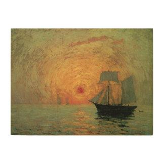 Impression Sur Bois Impressionisme vintage, Sun rouge par Maxime