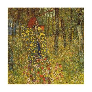 Impression Sur Bois Jardin de ferme avec le crucifix par Gustav Klimt